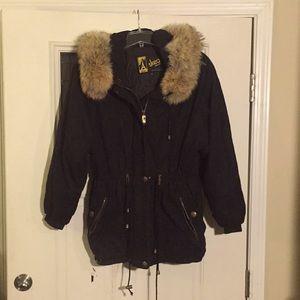 Vintage Skea authentic fur collar ski jacket black